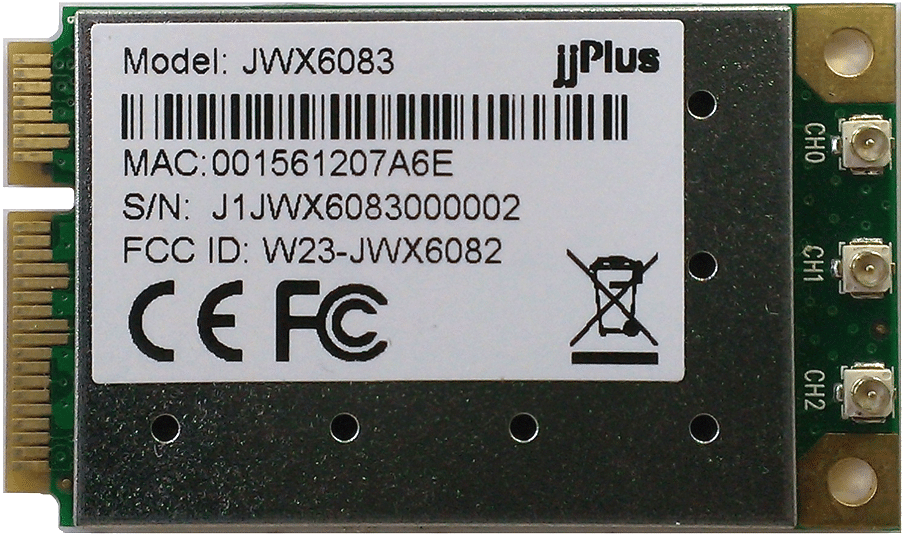 JWX6083 | 802.11a/b/g/n_3×3@2.4/5GHz_AR9380_PCIe 1.1_Mini PCIe_3 x U.FL Connector
